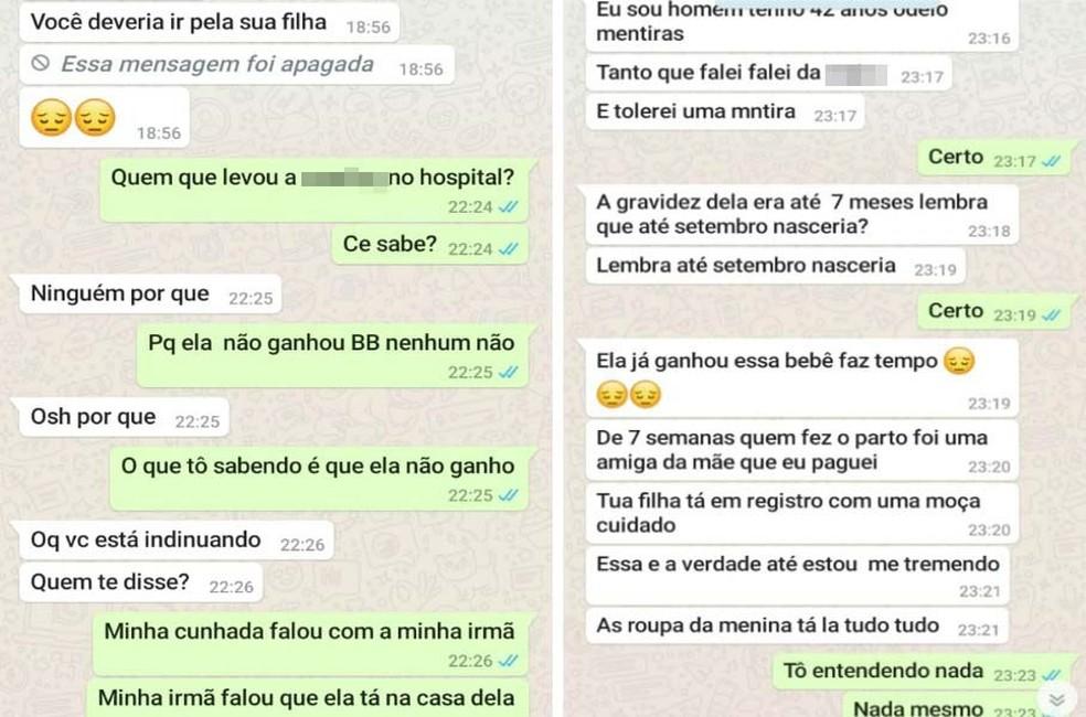 Sogro depois teria assumido por WhatsApp ao genro que estava mentindo e obrigou a filha a entregar o bebê — Foto: Arquivo pessoal